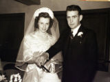 Family photo of wedding in 1942 of Arnold and Melba Lawson who  died within three hours of each...
