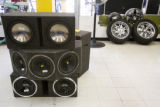 Speakers and rims are stacked at the Fast Cash Pawn and Jewelry. EDS visits the Ballpark...