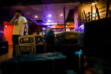 Drummer for Synthetic Elements, Brett Carson, 24, (CQ) of Denver waits by his gear at The Marquis...