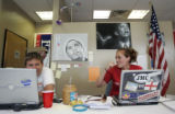Obama for President campaign volunteer Allie Ebner (cq), right, a recent graduate of UC San Diego,...