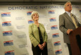 Kansas Gov. Kathleen Sebelius, a possible vice presidential candidate, appeared with Gov. Bill...