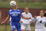 Aurora, Colo., photo taken May 25, 2004- Broomfield's Margaret Prosia (left #15) gets a header...