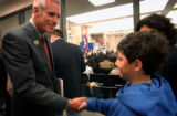 (DENVER, CO. OCTOBER 14, 2004) (LT to RT) United States Senate candidate Pete Coors (R) greets Sam...