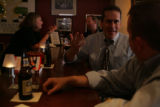Mark Stutz (cq) talks with his guest Anthony Sweeney (cq) at The Denver Press Club Thursday...
