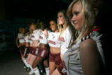 BG_0047 Models from Donna Baldwin stand with players to show off the Colorado Rapids new...