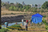 CBI and other law enforcement officials search for human remains  near 58th Avenue  and York...