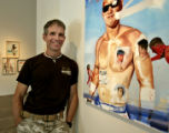 "Artist Jack Balas (cq), with a piece called ""Anchor"" and some of his other work at the..."