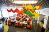 A Chinese dragon hangs above the cafeteria at the United States Olympic Training Center in...