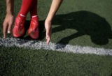 East High School kicker Zach Grossnickle (cq) practices with the team Tuesday, September 2, 2008. ...