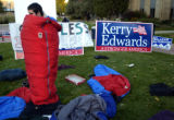 (10/18/2004) Boulder, Colorado-James Ward, a John Kerry campaign worker, stays in his sleeping bag...