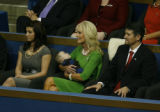 Cindy  McCain holds the infant son of Sarah Palin at the Republican National Convention at the...