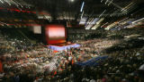 A slow shutter speed and change in zoom range causes a streaked effect on this image of delegates...