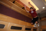 Colorado Avalanche goalie Andrew Rick Raycroft (cq) jumps a few feet as part of his medical and...