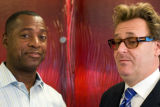 Sam Adam and Greg Proops at the Rocky Mountain News, September 5, 2008 (Matthew Roberts, Rocky...