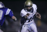 #16  Steffen Bunting (cq) runs as Greeley West beats Broomfield 27-24 at Broomfield High School in...
