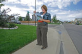 BG_0053 Holly Hansen canvases along E. 104th ave. where she running for Colorado State House Dist....