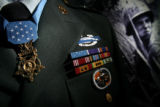 MJM038 A replica of Vietnam War veteran Drew Dix's uniform and Congressional Medal of Honor sits...