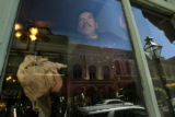 MJM728  Dostal Alley Casino employee, Jose Sandoval (cq) cleans the windows Thursday 09/25/08 at...