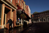 MJM312  Casino employee, David Brown (cq) hoses down the sidewalk in downtown Central City, Colo....