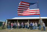 0712 Folks say the Pledge of Allegiance as they gather for the first annual Elbert County...