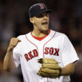 MAEA106 - Boston Red Sox relief pitcher Justin Masterson reacts to getting out of a bases-loaded...