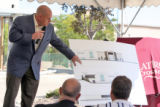Rob Luciano (cq) asssistant vice president of development for Macerich, speaks at a  press...