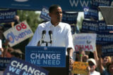"U.S. Senator Barack Obama delivers his message  at a ""Change We Need Event"" at the Cross..."