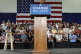 "The crowd cheers as  U.S. Senator Barack Obama delivers his message  at a ""Change We Need..."