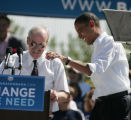 U.S. Senator Barack Obama consoles Bill Haggerty, who kept stumbling and mis-pronouncing his name,...