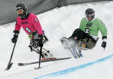 Mono Skiers Kevin Connolly from Bozeman, MT and Kevin Bramble from Cape May Court House, CA fight...