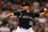 Colorado Rockies starting pitcher Mark Redman in the third inning of play against the Arizona...