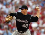 Colorado Rockies LHP Brian Fuentes pitches in the eighth inning of play against the Philadelphia...