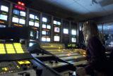 A live on-air program is directed from the main control room at QVC's Studio Park facility in West...