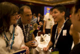Obama delegates Kathy Klein (cq), from left, Ken Richard(cq) and Tracy Krumpen(cq) talk with...
