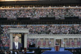 Former Vice President Al Gore addresses the crowd at the Democratic National Convention at the...