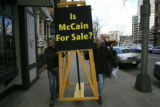 Republican presidential nominee John McCain campaigns in Denver with former rival Mitt Romney....
