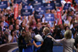 Democratic presidential nominee Sen Barack Obama and his VP running mate Sen Joe Biden wave to the...