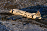 The wreckage of Being 737 Continental Flight 1404 sits at Denver International Airport. The plane,...
