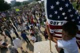 Thousands of demonstrators swamp the downtown area of St. Paul, Minnesota to protest the 2008...