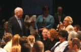 Republican Presidential nominee John McCain campaigns in Denver at a town hall meeting at the...