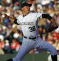 DXF103 - Colorado Rockies starting pitcher Ubaldo Jimenez delivers a pitch in third inning of a...