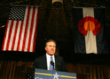 Football legend John Elway speaks on behalf of Republican presidential candidate Senator John...