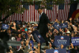 DM2187  Democratic presidential candidate Barack Obama walks out to greet a crowd of nearly...