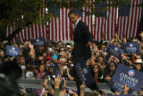 Barack Obama addresses supporters at Civic Center Park. Senator and presidential candidate Barack...