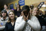Belinda Marshall, from Denver, cries during Barack Obama's acceptance speech during the victory...