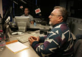 Michael Jones listens to callers in KHOW studio in Denver. Michael Jones was interviewed on the...