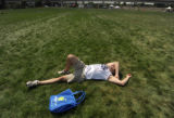 Brian Wulfert rests at Tent State in the City of Cuernavaca Park in Denver, Colo. Aug. 25, 2008....