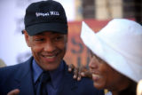 Actor/Director Giancarlo Esposito laughs with actor Angela Bassett  at a brunch promoting their...