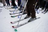 DM1967   Skiers stand shoulder to shoulder in the lift line for the Zephyr Express as the...