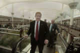 TSA Administrator Kip Hawley, heads to a press conference after going on a tour of the airport,...